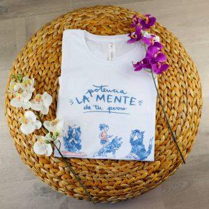 Camiseta Blanca Potencia la Mente de tu Perro